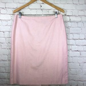 Pink & White Stripe Skirt By Brooks Brothers
